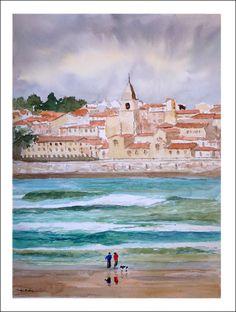 Acuarela de la playa de San Lorenzo en Gijón, un par de personas aprovechan a dar un paseo por la playa.