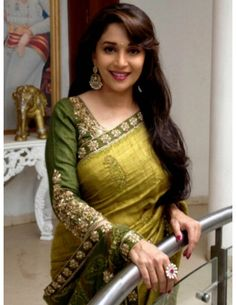 Madhuri Dixit In Olive Green Saree Item code : SMBW06