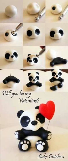 Panda Valentine Cake Topper Tutorial by Cake Duchess