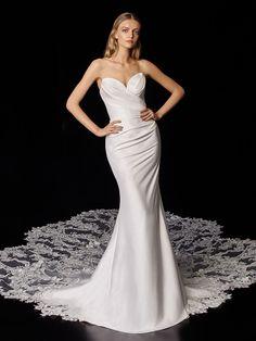 Porter 2021 Enzoani | Enzoani Gorgeous Wedding Dress, Wedding Dress Styles, Casual Braut, Bridal Gowns, Wedding Gowns, Modest Dresses, Formal Dresses, Bohemian Bride, Mermaid Dresses