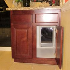 Through the cabinet hidden dog door - could put a latch on the door to keep dog out of house while at work...