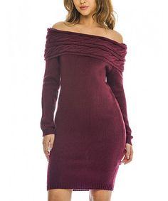 Wine Off-Shoulder Sheath Dress