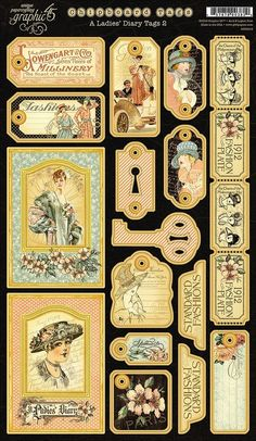 Graphic 45 - Ladies' Diary Collection - Die Cut Chipboard Tags - Two Papel Vintage, Vintage Tags, Vintage Labels, Vintage Ephemera, Vintage Paper, Graphic 45, Paper Art, Paper Crafts, Freebies