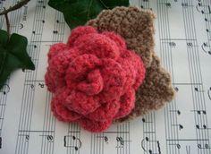Crochet Rose Brooch  Corsage Brooch Pin   Red by CraftsbySigita,