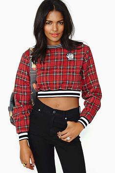 A fun twist on plaid (add a tank underneath for warmth and a more conservative take): Women's Tarty Plaid Sweatshirt by Lazy Oaf via @NASTY GAL #plaid #tartan