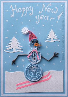 Happy New Year card with Snowman (quilling)