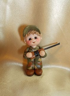 *POLYMER CLAY ~ camouflage duck hunter hunting Christmas ornament camo polymer clay personalized gift cake topper