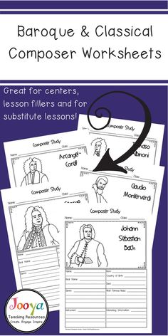 These 21 Baroque and Classical Music Composer worksheets are an engaging way to introduce General and Middle School Music students to different genres of music. The printable research activities are suitable for substitute lessons, assignments and for la Music Education Lessons, Music Lessons, Physical Education, Drum Lessons, Lessons Learned, Piano Lessons, Keyboard Lessons, Classical Music Composers, Middle School Music