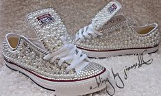 Adults custom bling and pearls converse Bedazzled Converse, Converse Wedding Shoes, Glitter Converse, Wedding Sneakers, Glitter Shoes, Prom Shoes, Glitter Gif, Rhinestone Converse, Pink Glitter