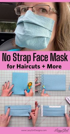 Face mask for haircuts! DIY strapless face mask so loops and ties don't get in the way when getting your hair cut. Video tutorial to make an easy DIY disposable face mask #FaceMask, #FaceMaskDIY, #NoSewFaceMask, #FaceMaskVideoTutorial #LazyGirlDesigns