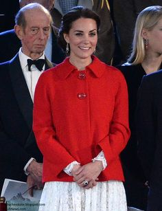 hrhduchesskate:  Queen Elizabeth's 90th Birthday Celebrations, Great Windsor Horse Show, May 15, 2016-The Duchess of Cambridge (with the Duke of Kent behind her) wore a Dolce & Gabbana Cotton-Blend Lace dress in white paired with a Zara Blazer with Black Pleat in bright red, accessorized with diamond chandelier earrings that belong to the Queen