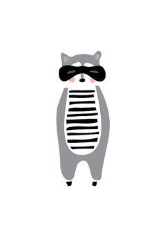 Racoon Art Print, Tier-Illustration, Zeichnung, Illustration, Kinderzimmer, Kinder Zimmer, Kunst, Kinderzimmer Kunst, Wohnkultur