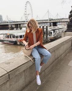 Nice outfit idea to copy ♥ For more inspiration join our group Amazing Things ♥ You might also like these related products: - Jeans ->. Blazer Outfits Casual, Chic Outfits, Spring Outfits, Trendy Outfits, Fashion Outfits, Orange Blazer Outfits, Look Fashion, Autumn Fashion, Look Blazer