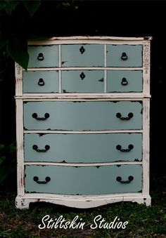 "Shabby Distressed ""Serenity"" Cottage Dresser. $575.00, via Etsy."