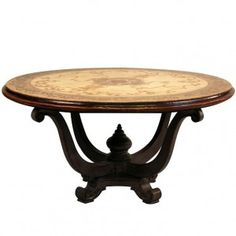 The French Country Motif Top Urn Table is truly a work of art with a painted scroll motif on the table top and a masterfully carved urn base. This round dining table features a thick wood top and a carved urn based with a finial in the middle. French Country Dining Table, French Country Furniture, French Country Farmhouse, French Country Style, French Country Decorating, Country Interior, French Interior, Country Chic, Best Kitchen Designs