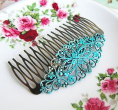 Items similar to Hair Comb Turquoise Wedding Blue Hair Slide Bridal Headpiece Bridesmaids Hair Pin Gift Patina Verdigris Blue Mint Aqua Hair Adornment on Etsy Aqua Hair, Hair Color Blue, Turquoise Hair, Hair Colors, Vintage Hair Combs, Best Makeup Tips, Hair Slide, Hair Comb Wedding, Wedding Dress