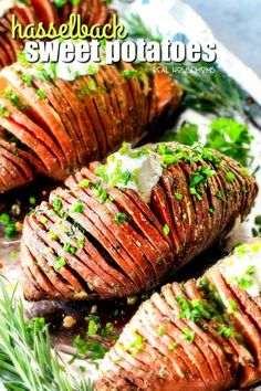 These Hasselback Sweet Potatoes are tender, melt-in-your-mouth and bursting with garlic herb, butter flavor! They look wonderfully gourmet for Thanksgiving and special occasions but are everyday easy!