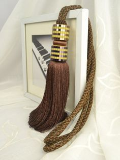 6 Colors QYM23 Polyester Curtain Tassel Tie Backs in Brown Color