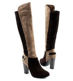 [SHOESONE.BIZ] 2207  Suede Double Mix Color Knee High Boots (9cm)-LIMITED EDITION