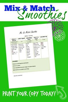 Mix & Match Smoothies - a great printable chart to guide your own cool…