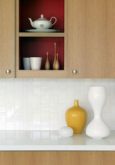Kitchen Vertical Tile Design, Pictures, Remodel, Decor and Ideas - page 2 Decor, Home Kitchens, Kitchen Remodel, Paint Inside Cabinets, Modern Kitchen, Simple Kitchen, Flooring Inspiration, White Subway Tile Kitchen, Kitchen Cabinets