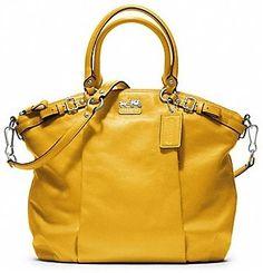 NWT SAFFRON, Coach, 18641, Madison, Leather Lindsey Satchel/Handbag