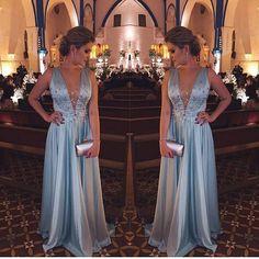 vestido de madrinha azul claro