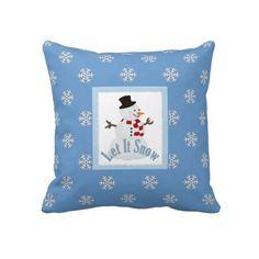 Let It Snow: #Snowman #Winter #Throw #Pillow