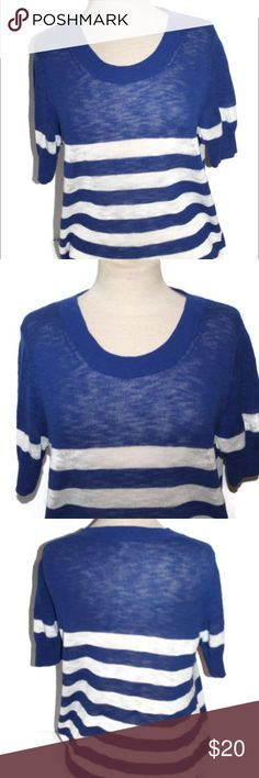 """J. Crew Factory Blue Striped 100% Cotton Top J. Crew striped top. 100% cotton. Half length sleeves. Soft knit. Bust measures 20"""" when measured flat across front. Excellent condition. No flaws! J.Crew Factory Tops Sweatshirts & Hoodies"""