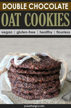 Chocolate Oat Cookies, Chocolate Oats, Healthy Chocolate, Gluten Free Sweets, Gluten Free Baking, Vegan Baking, Healthy Vegan Desserts, Vegetarian Cookies, Vegan Sweets
