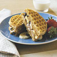 Peanut-Butter Banana-Raisin Waffle Sandwiches