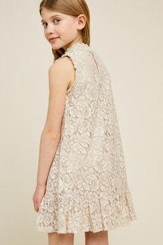 Lace Ruffle Hem Swing Dress