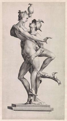 Jan Harmensz. Muller | Mercurius en Psyche: zijaanzicht met de zijde van Psyche, Jan Harmensz. Muller, Adriaen de Vries, 1595 - 1599 | Mercurius draagt Psyche naar de hemel. Naar een sculptuur van beeldhouwer Adriaen de Vries. Zijaanzicht met de zijde van Psyche.