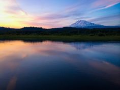Trout Lake, Trout Lake, Washington — by Bryan Smith. Mt. Adams from trout lake. Shot using iPhone 5s