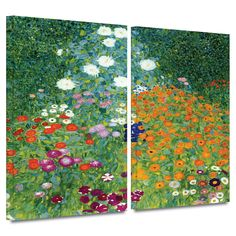 'Farm Garden' by Gustav Klimt 2 Piece Painting Print Gallery-Wrapped on Canvas Set