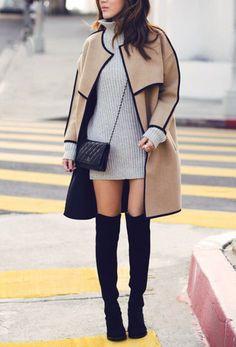 coat skin colour black tumblr boots purse fashion oversized stylish dress turtleneck outfit outfit idea