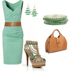 Green Dress Office Outfit Aline