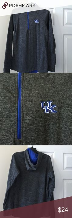 UK Half Zip Hoodie Heathered greyish black hoodie with UK emblem on the upper left side. Has fleece on the inside, warm hoodie. Hood is lined in blue. Size L women's. Fits M/L. Listed under PiNK for exposure PINK Victoria's Secret Tops Sweatshirts & Hoodies