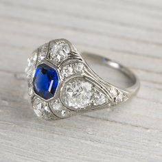 1.10 Carat Sapphire and Diamond Vintage by ErstwhileJewelry--so absolutely breathtaking