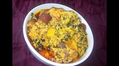 Egusi Soup Recipe: How To Cook Egusi Soup (Caking Method) with bitter leaves Egusi Soup Recipes, Kale, Spinach, Almond Seed, Goat Meat, Spicy Soup, Pumpkin Leaves, Cooking Spoon, African Recipes