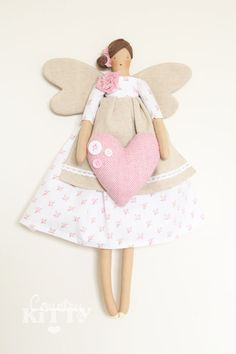 Fairy angel doll in white and pink shades with little roses fabric and tweed heart with buttons