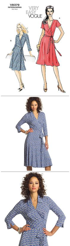 Very Easy Vogue Sewing Pattern V8379 Misses' Classic Wrap Dress - Wrap front dress with soft pleats, side tie, and sleeve variations … WeaverDee.com