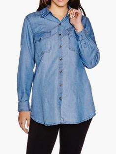 Maternity Jean Shirt by #ThymeMaternity :: #MaternityStyle #MaternityFashion #MaternityTop #Fashion #Maternity