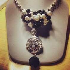 Black and white pearls with pendant and Swarovski crystal on silver chain