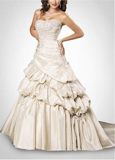 LACE BRIDESMAID PARTY BALL EVENING GOWN IVORY WHITE FORMAL PROM TAFFETA A-LINE NO WAISTLINE WEDDING DRESS