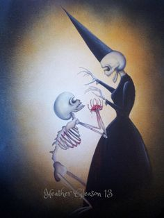Gothic Victorian Lowbrow Skeleton Art Hearts Of Horror via Etsy