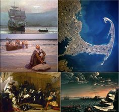 The ship The Mayflower arrived at Cape Cod, America, on this day 19th November 1620. Its 87 passengers were a Protestant sect, known as The Pilgrim Fathers,(Mayflower Collage: departs from Southampton, England on its travel to North America)