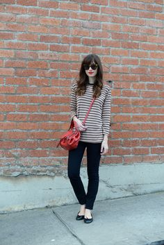 black and tan striped tee with black jeans M Loves M @marmar