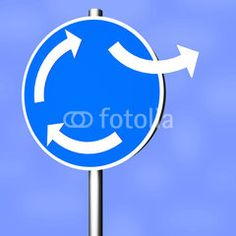 Sign roundabout with direction change