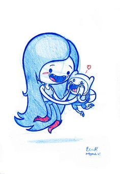 Marceline and squishy-faced Finn! by PodgyPanda Cool Art Drawings, Beautiful Drawings, Disney Drawings, Disney Kunst, Disney Art, Adveture Time, Jake The Dogs, Dibujos Cute, Baby Drawing